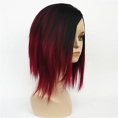 Cabelo Sintético perucas Reto Repartido ao Meio Corte Bob Sem Touca Peruca Natural Curto Preta Vermelho