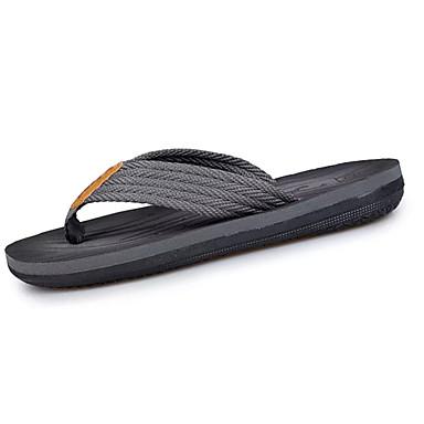Men's PU(Polyurethane) Summer Slippers & Flip-Flops Walking Shoes Gray / Brown / Split Joint