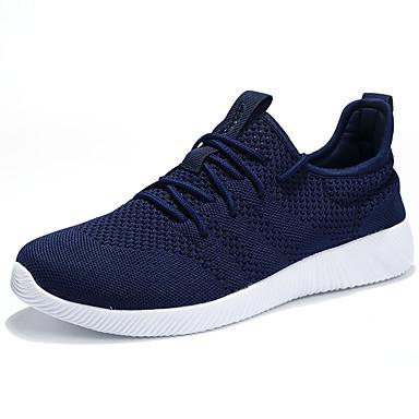 Homens sapatos Tule Verão Outono Conforto Tênis Caminhada Cadarço para Atlético Casual Ao ar livre Preto Azul Escuro