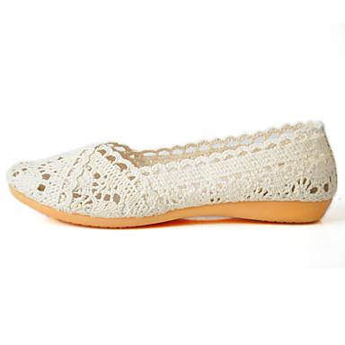 Mulheres Sapatos Tule Verão Conforto Solados com Luzes Rasos Sem Salto Ponta Redonda para Casual Preto Bege Cinzento
