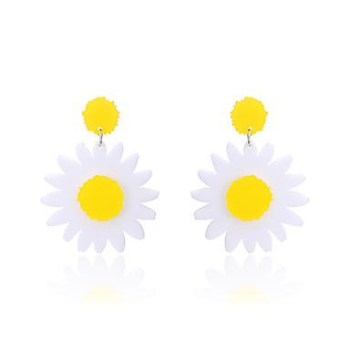 Mulheres Brincos Compridos - Natureza Circulo Amizade Confeccionada à Mão Estilo bonito Góticas Amarelo Forma Geométrica Flor Brincos Para