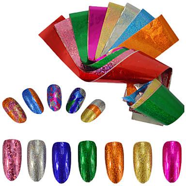 9pcs/set Foil Sticker / Nail Sticker Glamorous Glitter / Nail Decals Nail Art Design