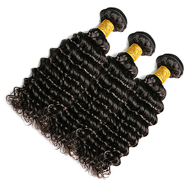 Indian Hair Classic / Deep Wave Natural Color Hair Weaves 3 Bundles 10-20inch Human Hair Weaves Natural Black