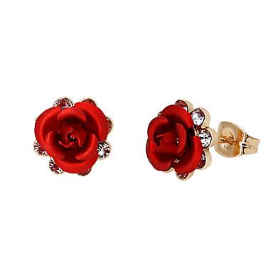 Mulheres Brincos Curtos / Brincos Compridos - Chapeado Dourado Flor Roxo / Vermelho / Azul Claro Para Festa / Aniversário / Diário