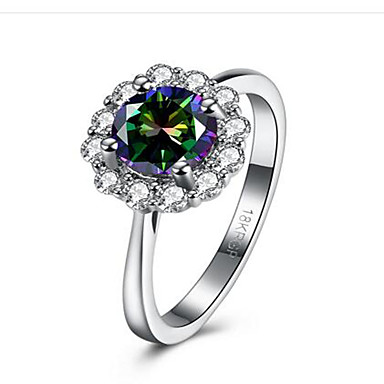 Mulheres Zircônia cúbica / Diamante sintético Anel - Aço Inoxidável, Zircônia Cubica Flor Fashion 6 / 7 / 8 Branco Para Parabéns / Presente / Diário