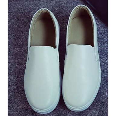 Damen Schuhe PU Frühling Komfort Flache Schuhe für Normal Weiß Schwarz