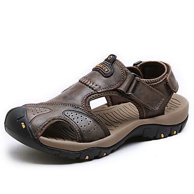 Herrn Schuhe Nappaleder Sommer Komfort Sandalen Wasser-Schuhe Klettverschluss für Sportlich Draussen Braun Dunkelbraun Khaki