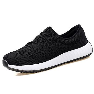 Homens sapatos Tule Primavera Outono Conforto Tênis Corrida Cadarço para Casual Preto Laranja Azul Escuro Cinzento