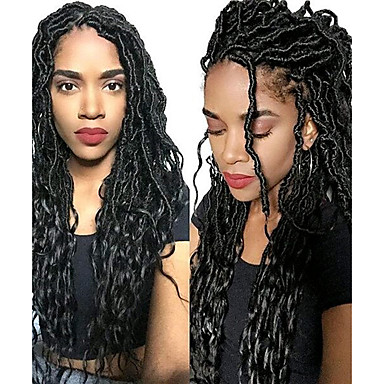 1 pack black havana mambo wavy faux locs braids hair extensions kanekalon hair braids 100g
