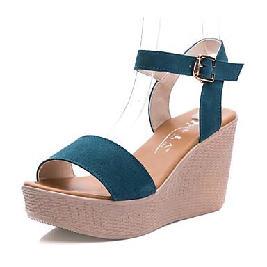 Mulheres Sapatos Camurça Verão Sandálias Salto Plataforma Peep Toe Café / Vermelho / Azul / Sapatos clube / Calcanhares