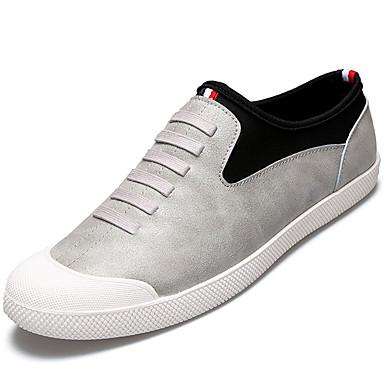 Homens sapatos Couro Ecológico Primavera Verão Conforto Tênis Caminhada para Casual Preto Cinzento Castanho Escuro