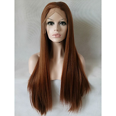 Synthetic Lace Front Wig Straight Synthetic Hair Brown Wig Women's Medium Length / Long Lace Front Medium Auburn