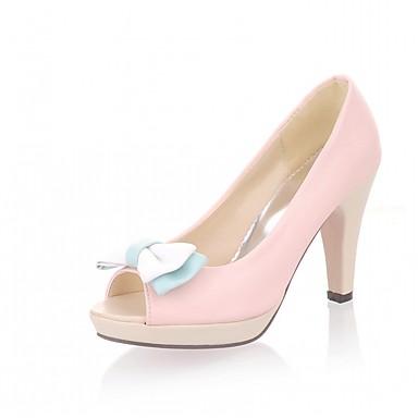 Mulheres Sapatos Couro Ecológico Courino Verão Outono Sapatos formais Inovador Conforto Sandálias Caminhada Salto Robusto Peep Toe Ponta
