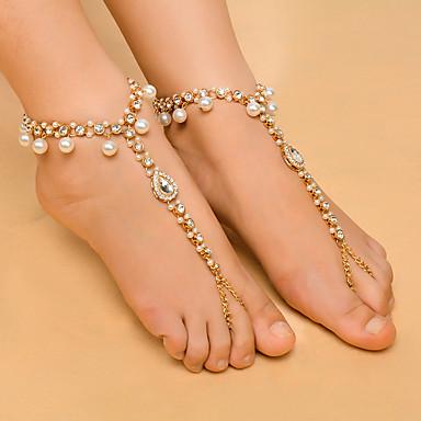 Diamante sintético Franjas Bijuteria para Pés - Imitação de Pérola Caído Fashion, Yoga Dourado / Prata Para Diário / Casual / Mulheres / Strass