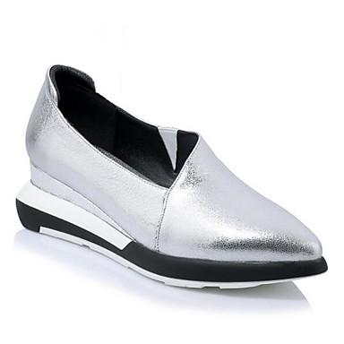 Naiset Kengät Nahka Kevät Comfort Tasapohjakengät Käyttötarkoitus Kausaliteetti Musta Hopea