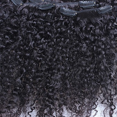 Kinky lockiger 7pieces / set Klipp in der menschlichen Haarverlängerung indischen remy Haar natürliche Farbe 120g / set