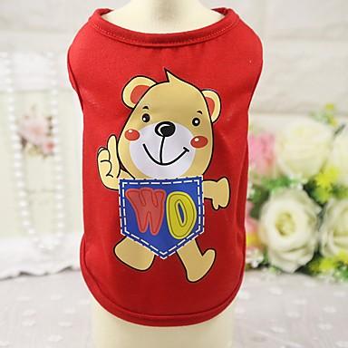 Gato Cachorro Camiseta Colete Roupas para Cães Animal Vermelho Azul Rosa claro Algodão Ocasiões Especiais Para animais de estimação
