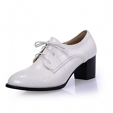 Mulheres Sapatos Couro Ecológico Primavera / Outono Conforto / Inovador Saltos Caminhada Salto Robusto Ponta Redonda Cadarço Branco /