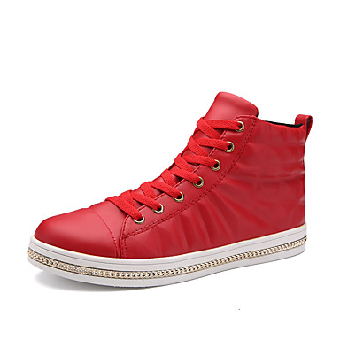 Miesten kengät PU Kevät Syksy Comfort Urheilukengät Solmittavat varten Kausaliteetti Valkoinen Musta Punainen