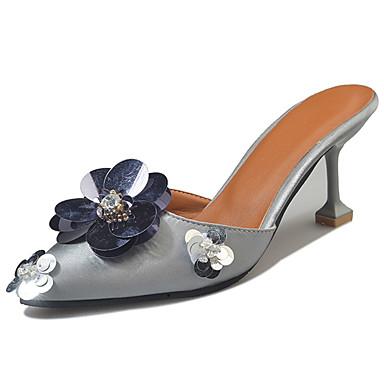 Mulheres Sapatos Couro Ecológico Verão Conforto Sandálias Salto Agulha Preto / Cinzento