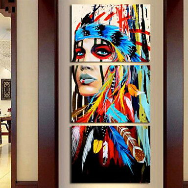 billige Trykk-Trykk Valset lerretskunst - Abstrakt Moderne Tre Paneler Kunsttrykk