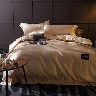 Jednobarevné 4 kusy Hedvábí Bavlna Ručně vyrobeno Hedvábí Bavlna Povlak na přikrývku 1 ks 2 ks polštář 1 ks volné prostěradlo