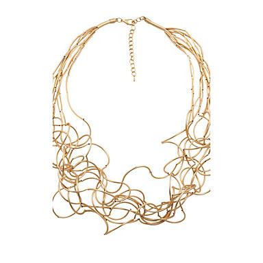 billige Mote Halskjede-Dame Strands halskjede Vredet Wire Wrap damer Personalisert Bohemsk Mote Ståltube Gull Hvit Sølv Halskjeder Smykker Til Julegaver Bryllup Fest Spesiell Leilighet Halloween jubileum