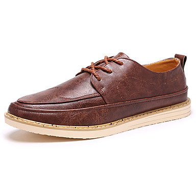 Men's Shoes PU Spring Fall Comfort Oxfords for Outdoor Black Yellow Dark Brown
