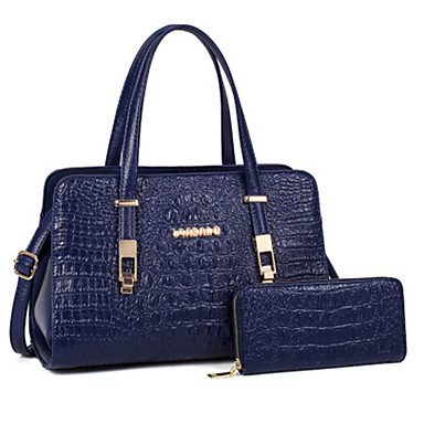 Women's Bags PU Tote 2 Pieces Purse Set for Casual Office & Career All Seasons Blue Black Red