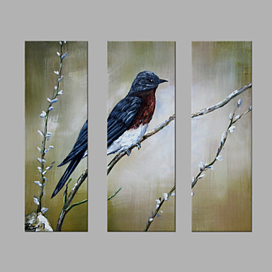 Hand-Painted Animals Vertical, Artistic Canvas Oil Painting Home Decoration Three Panels