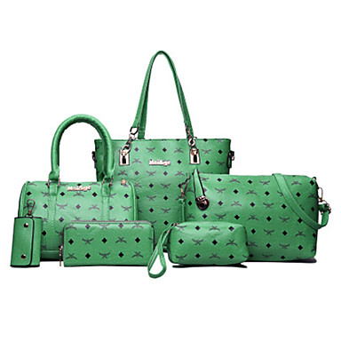 Women Bags PU Tote 6 Pieces Purse Set for Casual Office & Career All Seasons Blue Green White Black Red