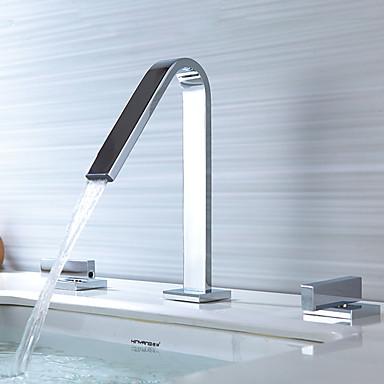 Deck Mounted Ceramic Valve Two Handles Three Holes Bathroom Sink Faucet