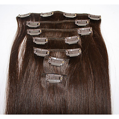 Clip In Human Hair Extensions Straight Human Hair Extensions Human Hair Brazilian Hair Women's
