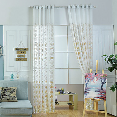 Rod Pocket Grommet Top Curtain Patterned Pastoral, Embroidery Embroidered Living Room Material Sheer Curtains Shades Home Decoration