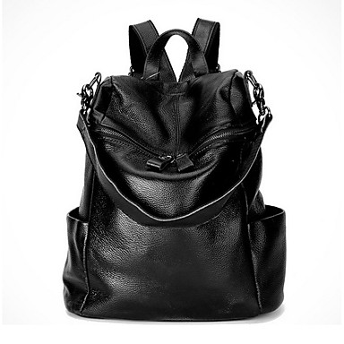 Women's Bags Cowhide Backpack for Sports / Formal / Traveling Black