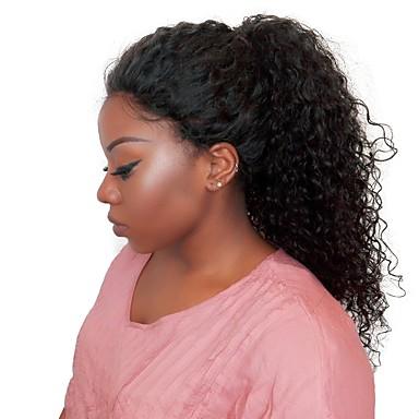billige Blondeparykker med menneskehår-Ekte hår Halvblonder uten lim Blonde Forside Parykk Side del stil Brasiliansk hår Kinky Curly Parykk 250% Hair Tetthet med baby hår Naturlig hårlinje Afroamerikansk parykk 100 % håndknyttet Blekte