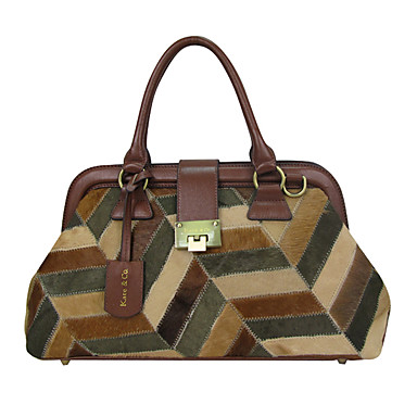 Women Bags Winter All Seasons Cowhide Tote for Event/Party Casual Dark Brown
