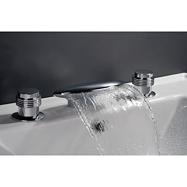 Bathtub Faucet - Beach Style / Mediterranean Chrome Widespread Ceramic Valve