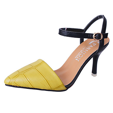 Mulheres Sapatos Couro Ecológico Verão Plataforma Básica Saltos Caminhada Salto Agulha Dedo Apontado Presilha para Casamento Casual
