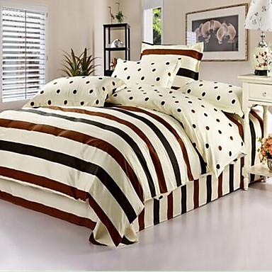 Duvet Cover Sets Stripe Cotton Print 4 Piece