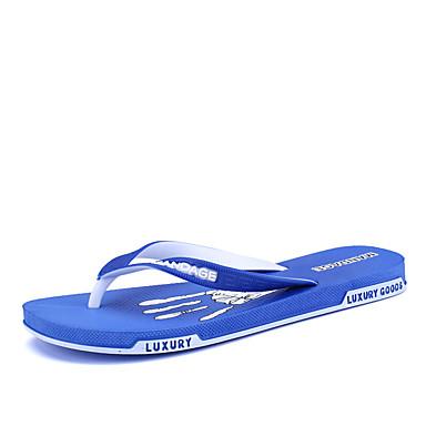 Homens sapatos Couro Ecológico Primavera Outono Solados com Luzes Conforto Chinelos e flip-flops para Casual Preto Cinzento Azul