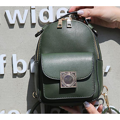 Women's Bags PU Backpack for Casual Green / Black / Red