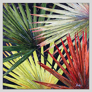 Pintura a Óleo Pintados à mão - Floral / Botânico Abstracto Tela de pintura