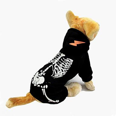 Hund Kjeledresser Hundeklær Hodeskaller Svart Rød Bomull Kostume For kjæledyr Halloween