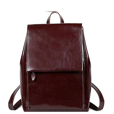 Women Bags All Seasons Cowhide Backpack with for Casual Brown Black Wine