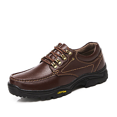 Men's Shoes Cowhide Winter Fall Formal Shoes Light Soles Comfort Oxfords Hiking Shoes Lace-up for Casual Office & Career Outdoor Dark