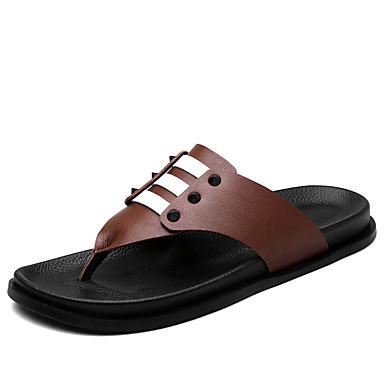 Homens sapatos Couro Ecológico Verão Conforto Chinelos e flip-flops Combinação para Casual Preto Marron Castanho Escuro