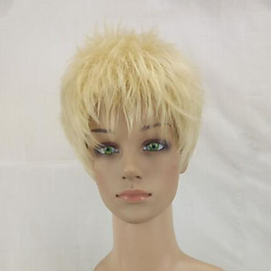 Synthetic Wig Curly Blonde Pixie Cut Synthetic Hair Blonde Wig Women's Short Capless