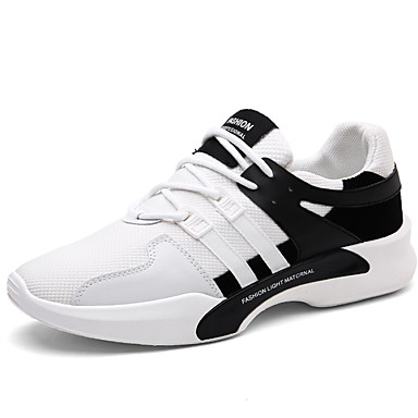 Men's Shoes Tulle Spring Fall Comfort Sneakers Walking Shoes Lace-up for Casual Party & Evening Outdoor White Black Black/White