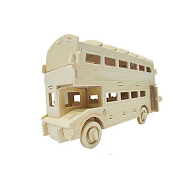 Toy Cars 3D Puzzles Jigsaw Puzzle Wood Model Toys Plane / Aircraft Car Bus Double-decker Bus 3D DIY Wood Not Specified Boys Unisex Pieces